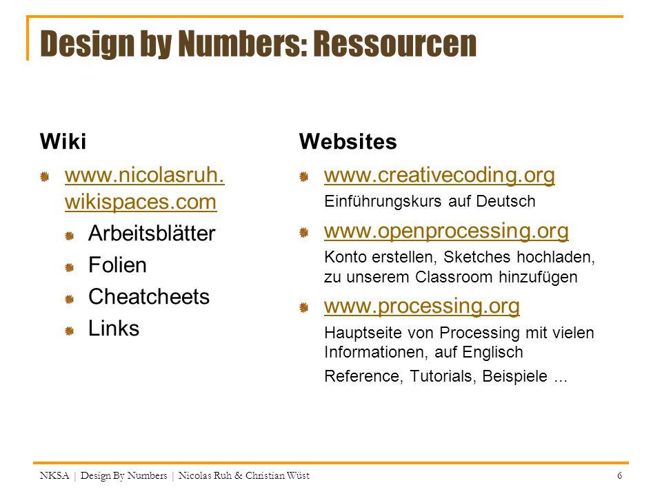 Processing Design by Numbers Nicolas Ruh & Christian Wüst Quellen ...