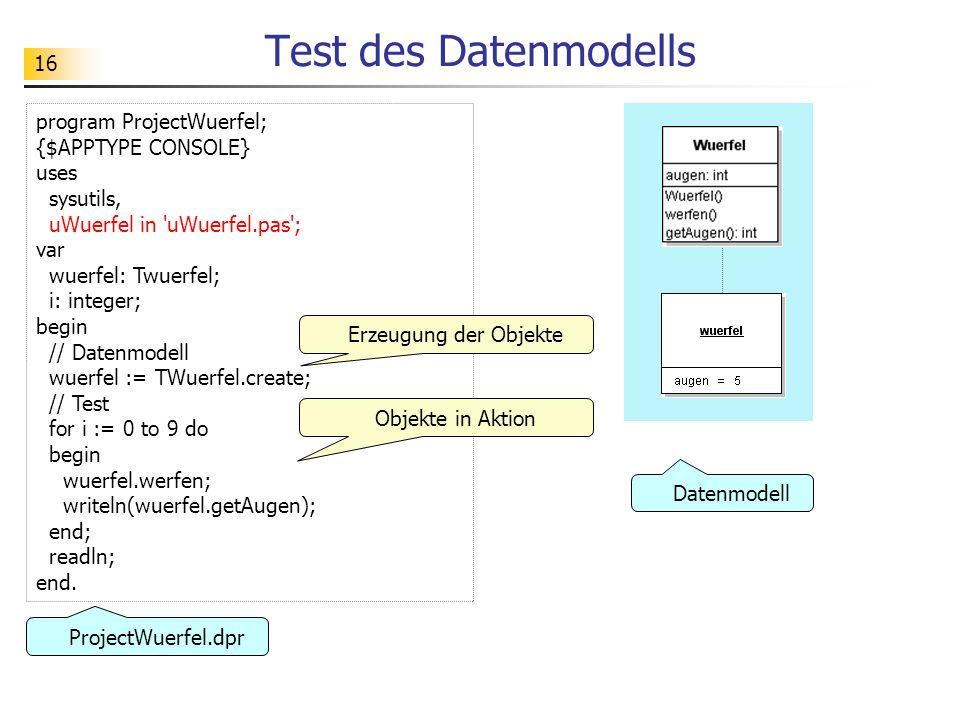 Test des Datenmodells program ProjectWuerfel; {$APPTYPE CONSOLE} uses
