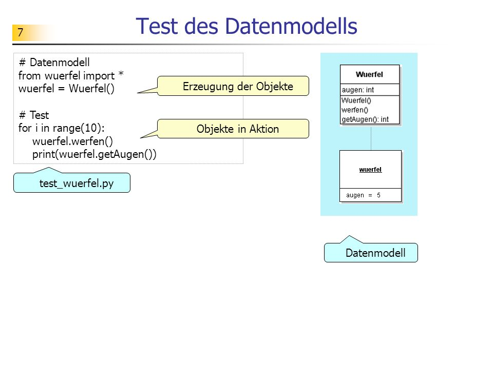 Test des Datenmodells # Datenmodell from wuerfel import *
