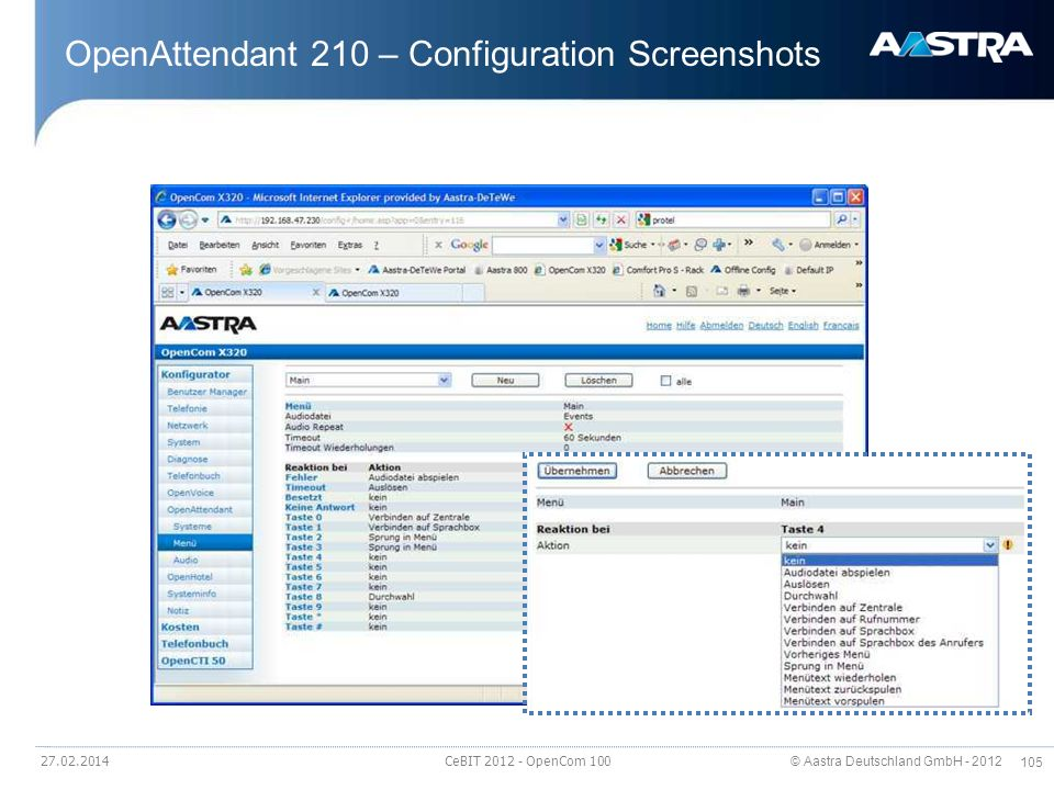 OpenAttendant 210 – Configuration Screenshots