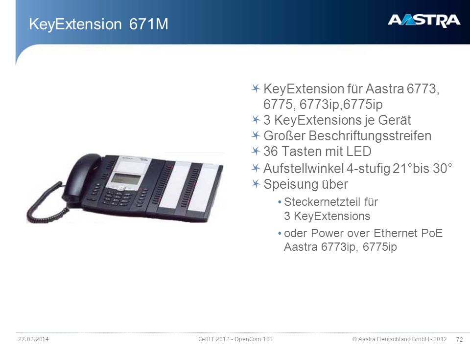 KeyExtension 671M KeyExtension für Aastra 6773, 6775, 6773ip,6775ip