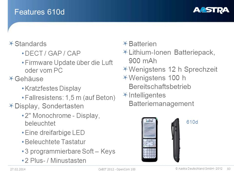 Features 610d Standards Gehäuse Display, Sondertasten Batterien