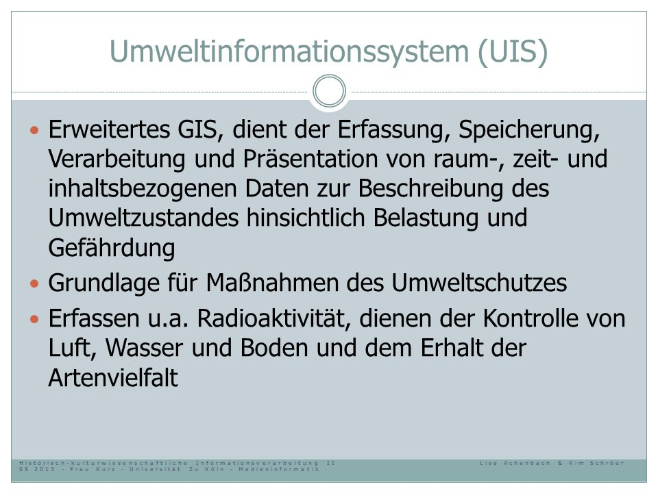 Umweltinformationssystem (UIS)