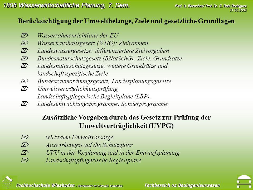 Vorlesung: 1806 UV in der Wasserwirtschaft 7. Semester U, 1 Vo + 1Ue ...
