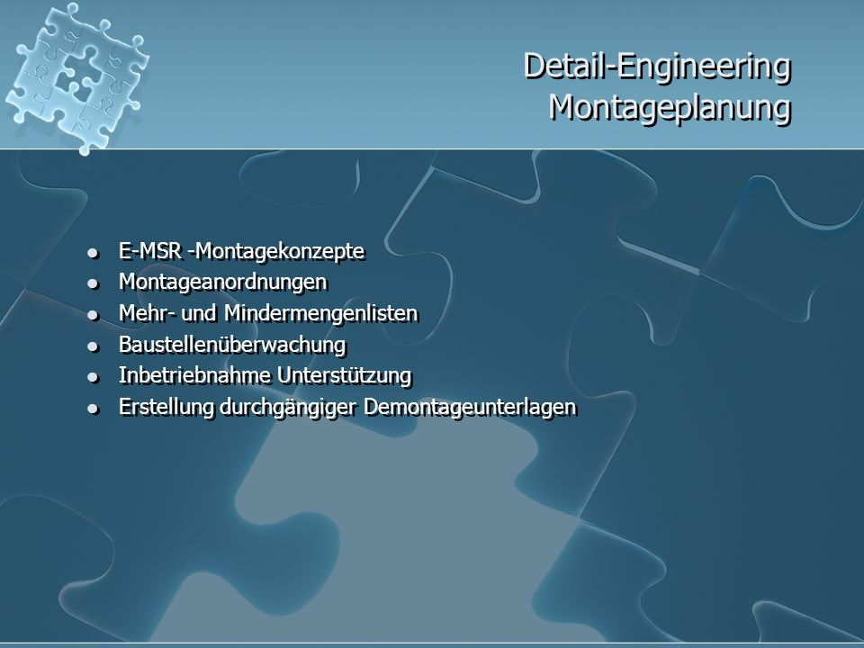 Detail-Engineering Montageplanung