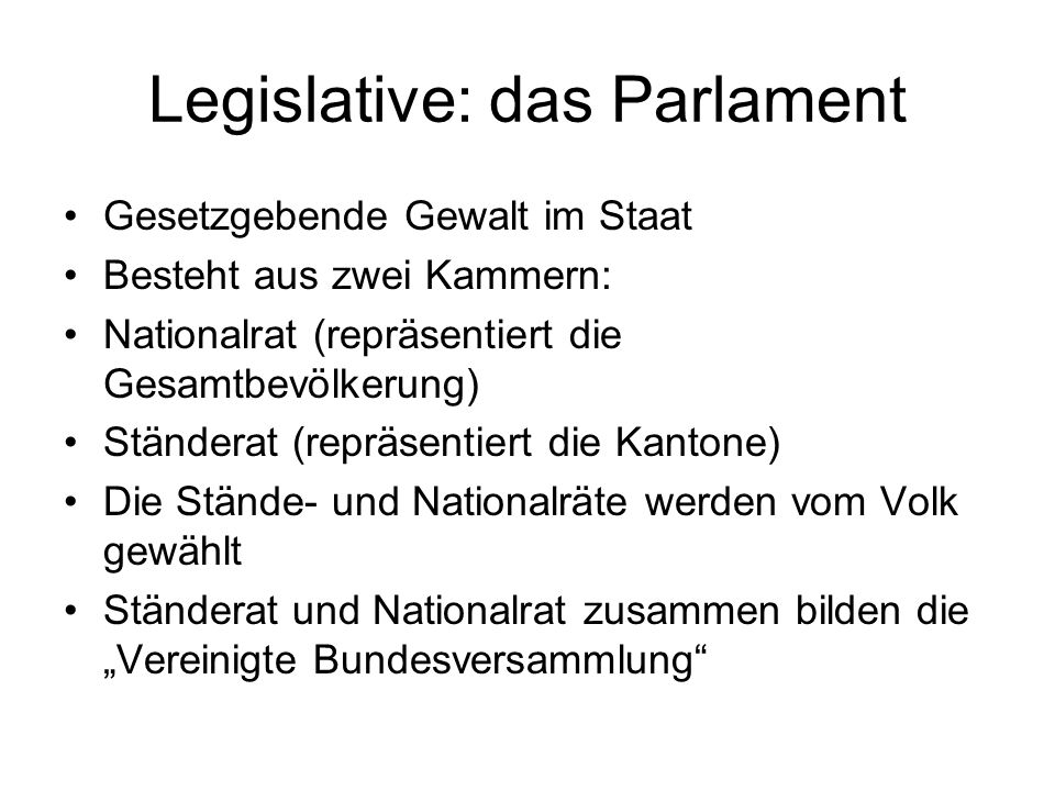Legislative: das Parlament