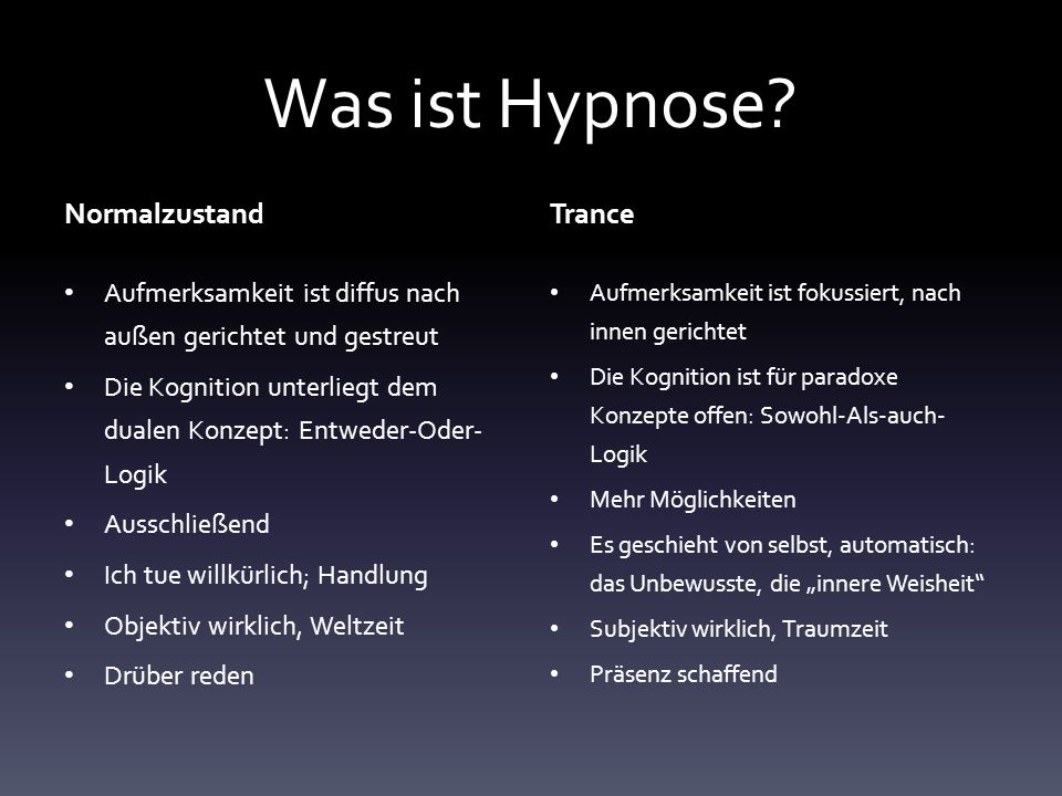 Was ist Hypnose Normalzustand Trance