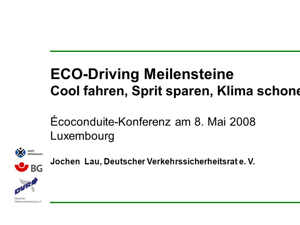 ECO-Driving Meilensteine