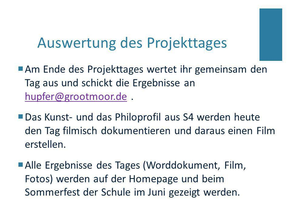Auswertung des Projekttages