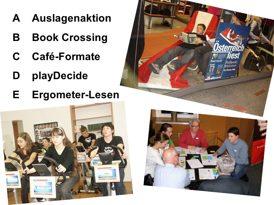 A B C D E Auslagenaktion Book Crossing Café-Formate playDecide