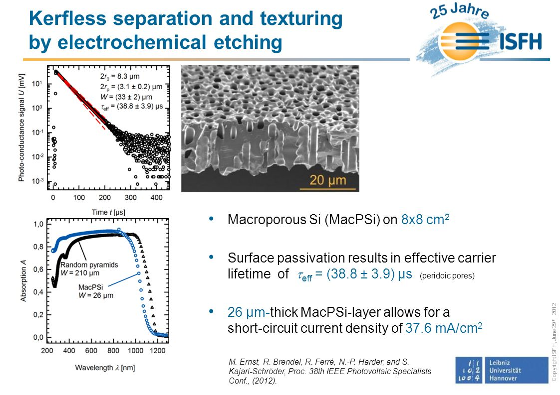 Kerfless separation and texturing by electrochemical etching