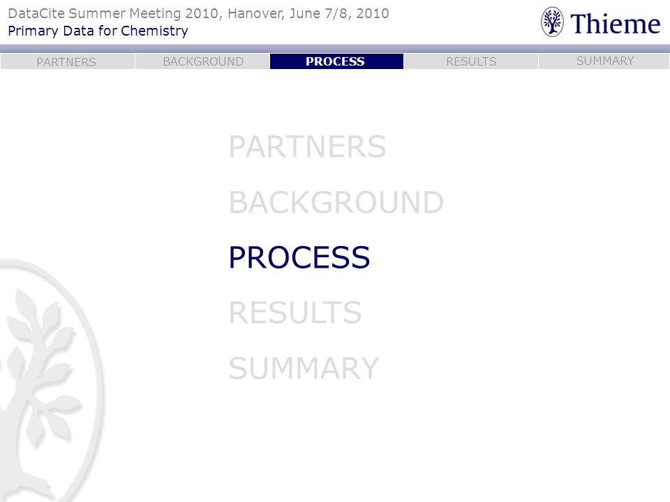 PROCESS PARTNERS BACKGROUND PROCESS RESULTS SUMMARY