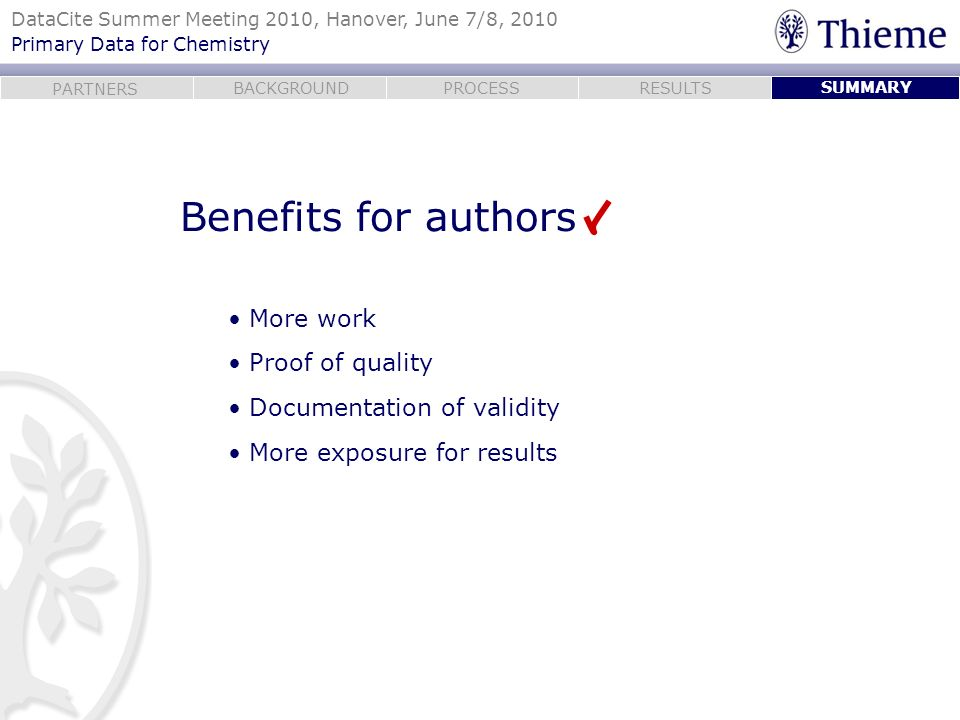 Benefits for authors More work Proof of quality