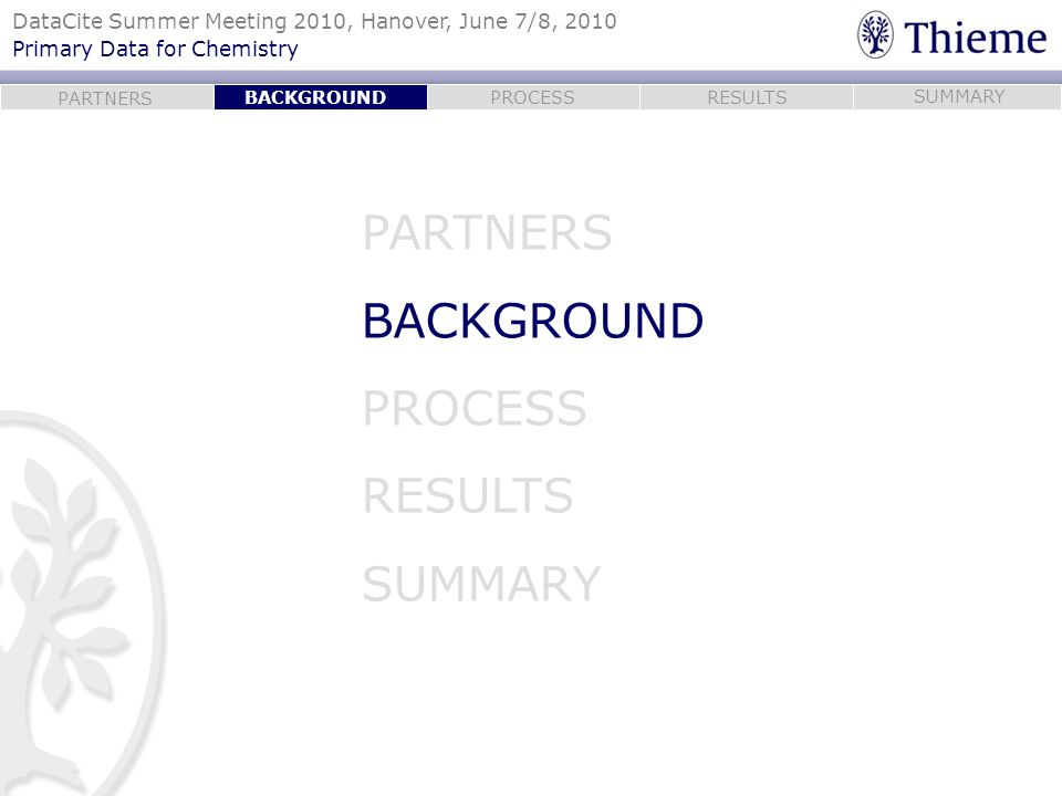 BACKGROUND PARTNERS BACKGROUND PROCESS RESULTS SUMMARY