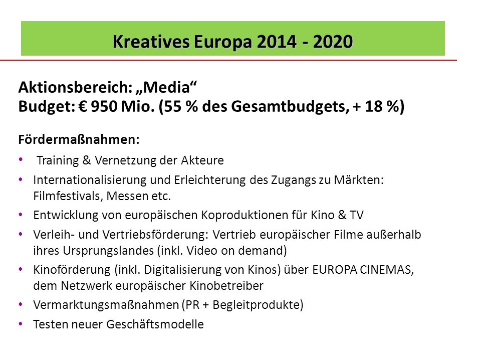 "Kreatives Europa 2014 - 2020 Aktionsbereich: ""Media"