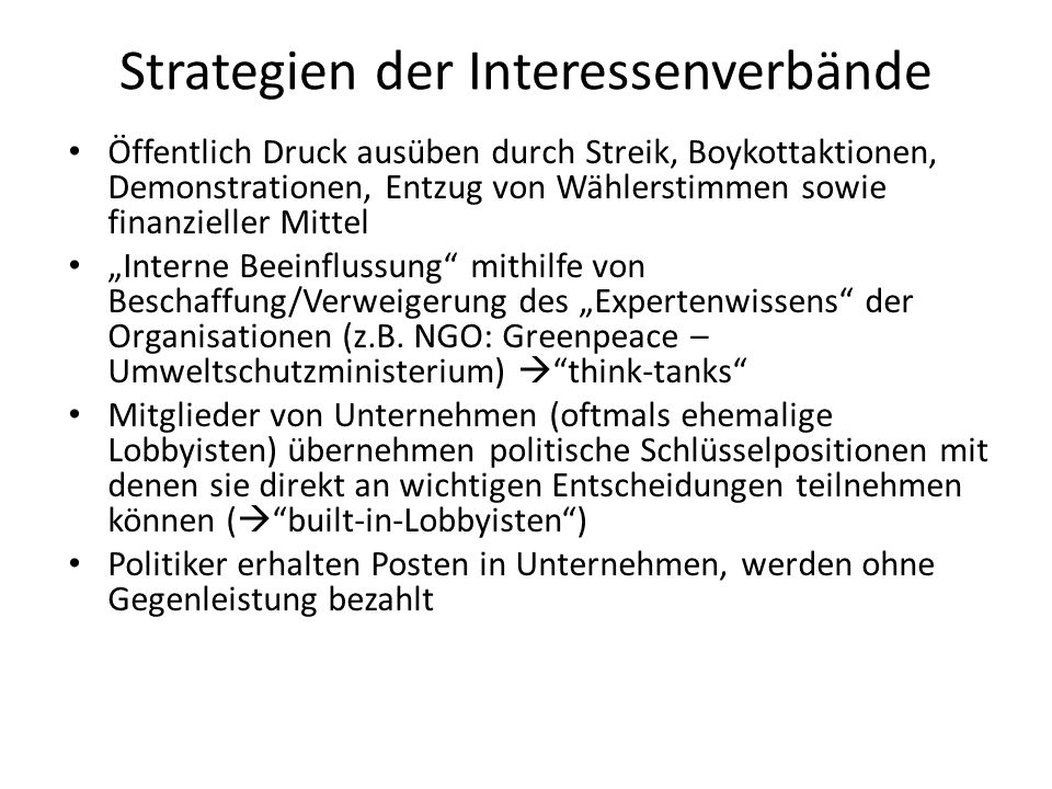 Strategien der Interessenverbände
