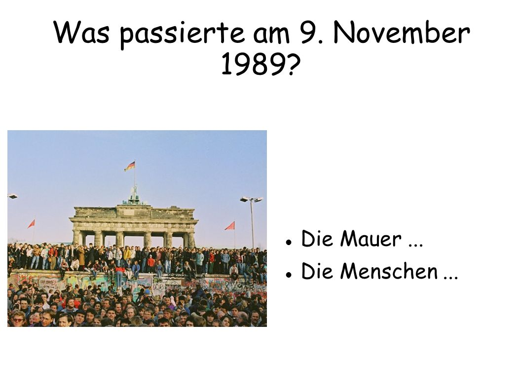 Was passierte am 9. November 1989