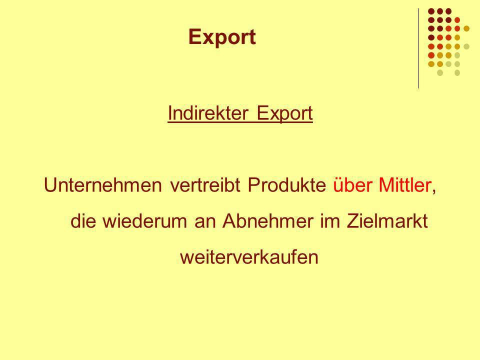 Export Indirekter Export