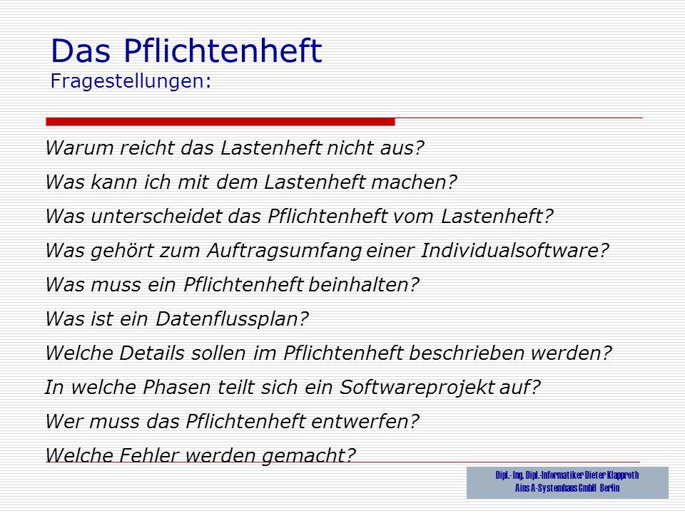 Das Pflichtenheft Dipl Ing Dipl Informatiker Dieter Klapproth Ppt Video Online Herunterladen