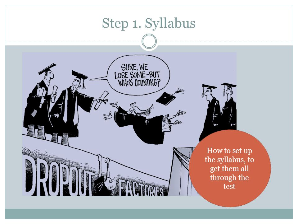 How to set up the syllabus, to get them all through the test
