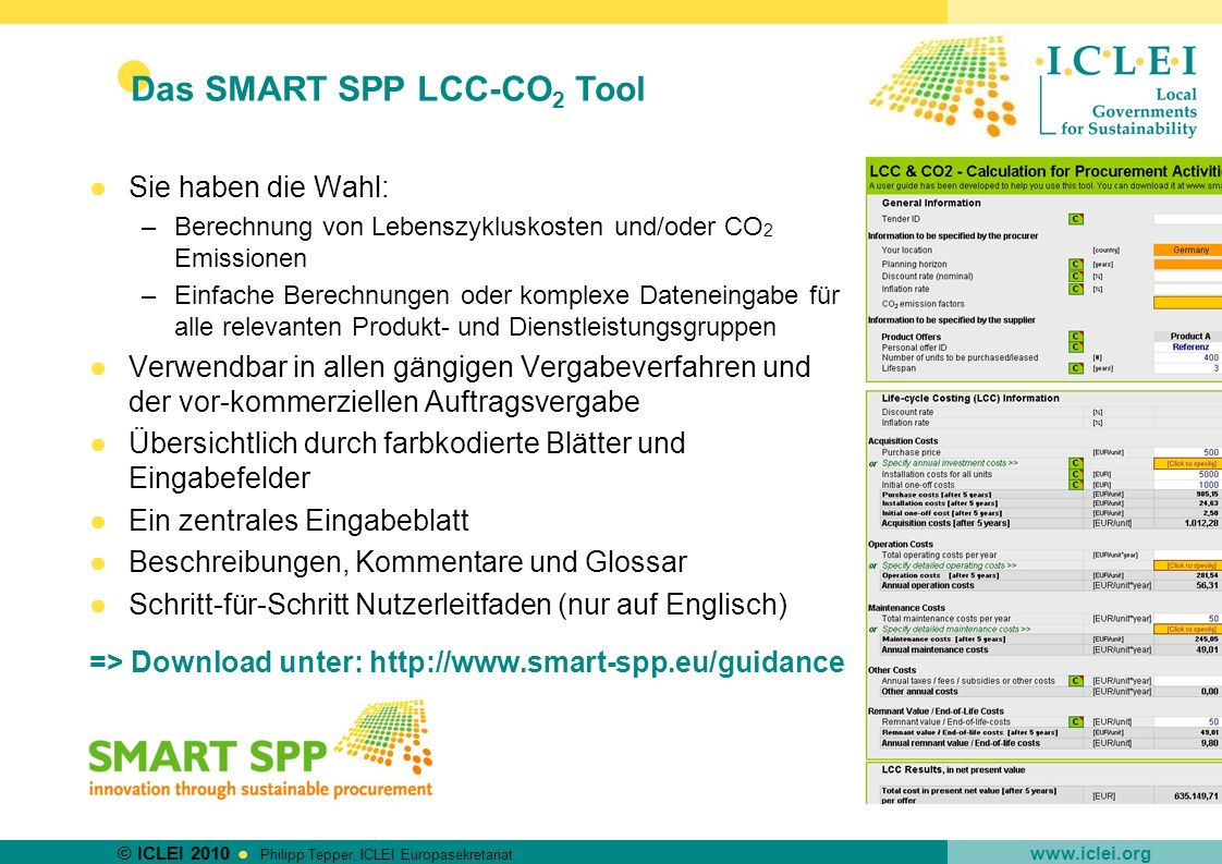 Das SMART SPP LCC-CO2 Tool