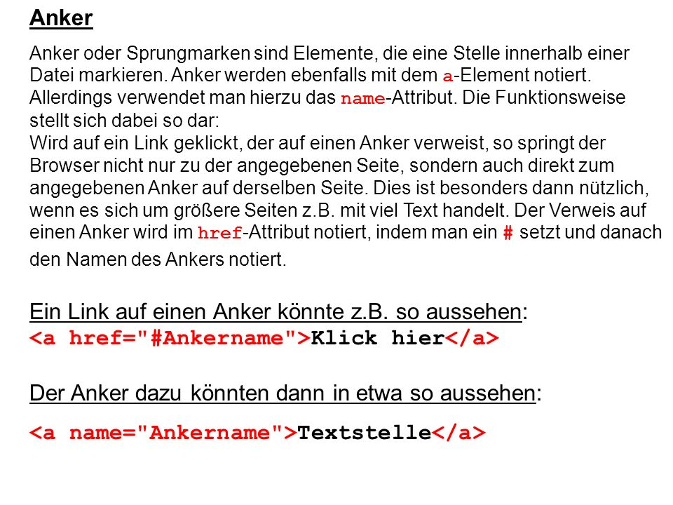 <a name= Ankername >Textstelle</a>