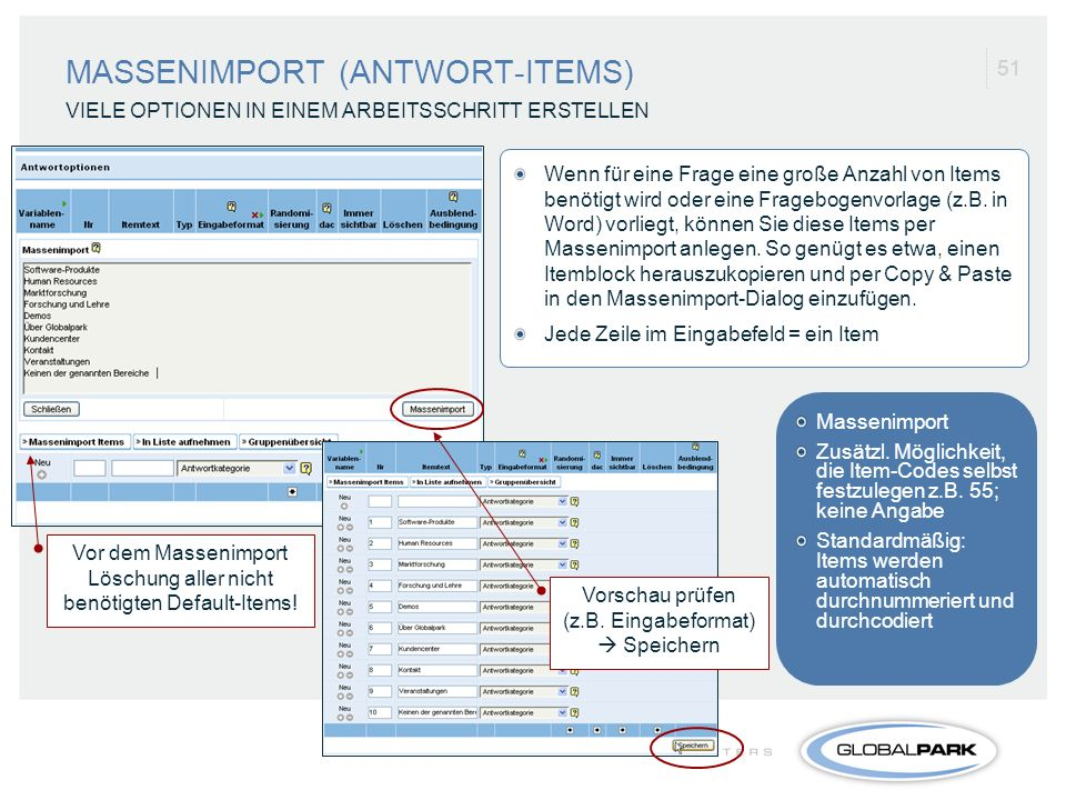 MASSENIMPORT (ANTWORT-ITEMS)
