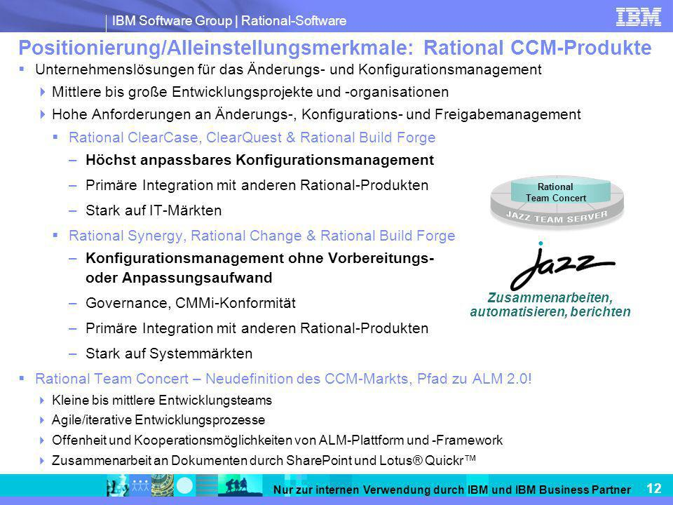 Positionierung/Alleinstellungsmerkmale: Rational CCM-Produkte