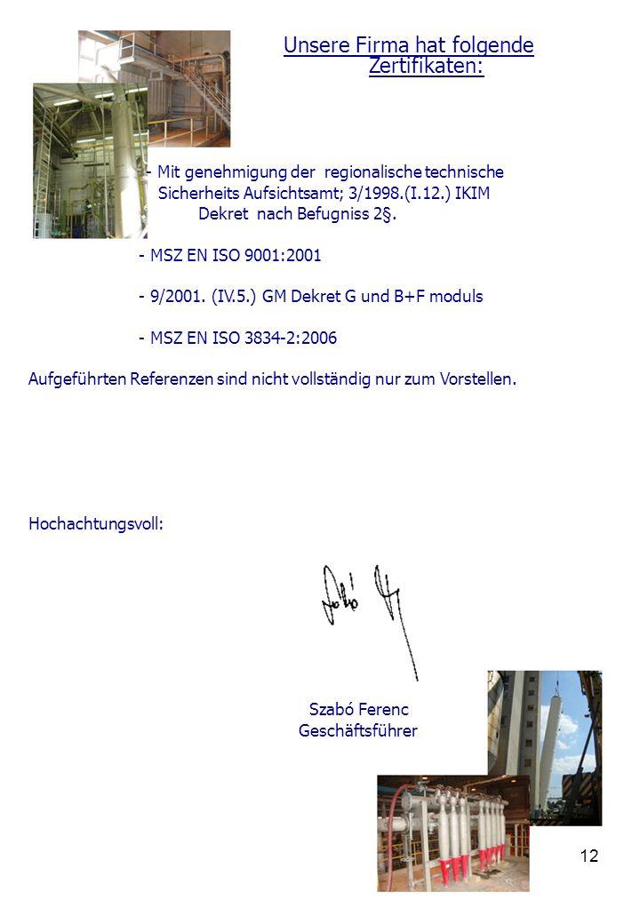 I.M.H. Kft. Aufnahmefähigkeit presentation und Referenzlisten 1 ...