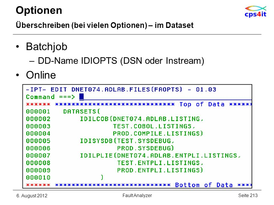 Optionen Batchjob Online DD-Name IDIOPTS (DSN oder Instream)