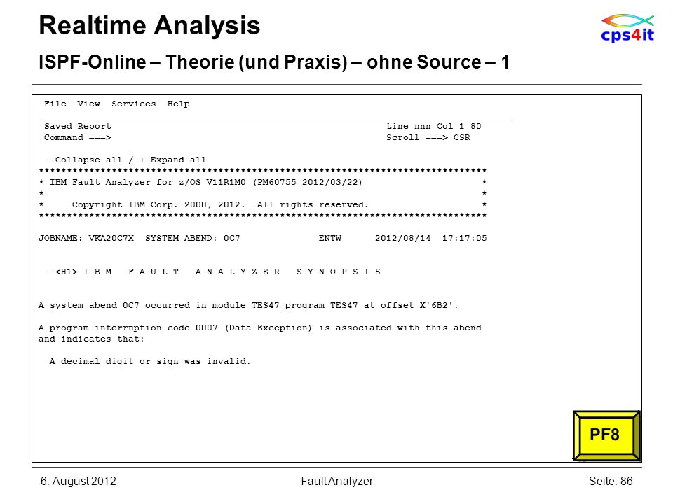 Realtime Analysis ISPF-Online – Theorie (und Praxis) – ohne Source – 1