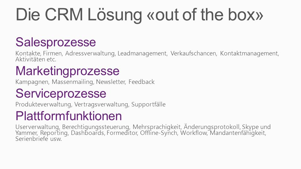 Die CRM Lösung «out of the box»