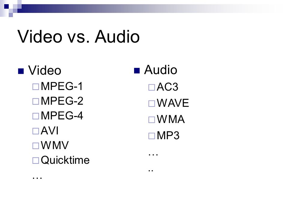 Video vs. Audio Audio Video AC3 MPEG-1 MPEG-2 WAVE MPEG-4 WMA AVI MP3