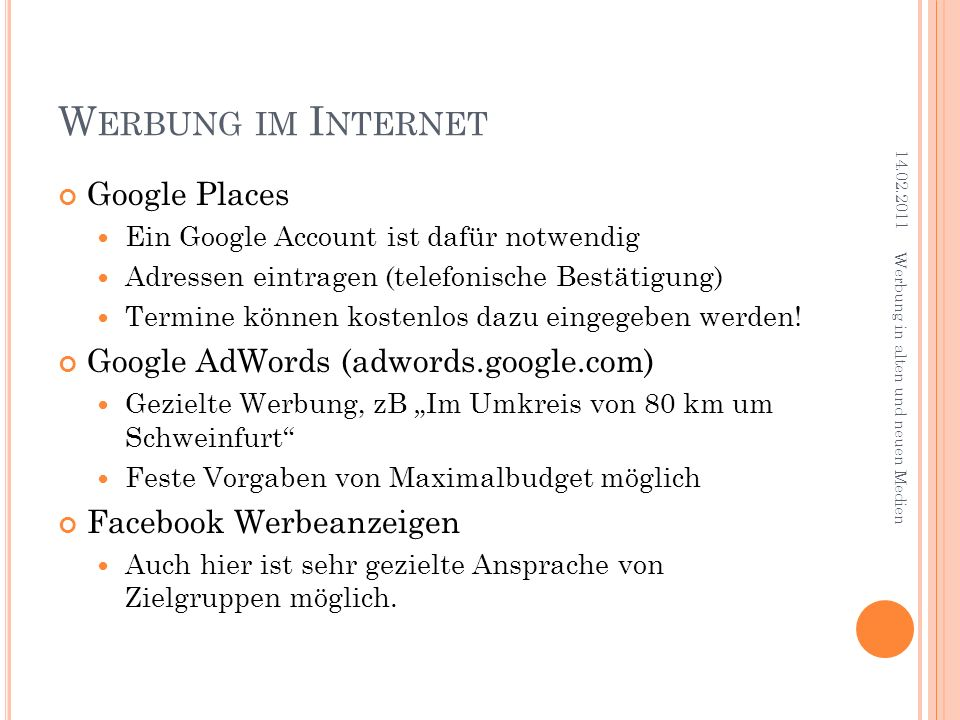 Werbung im Internet Google Places Google AdWords (adwords.google.com)