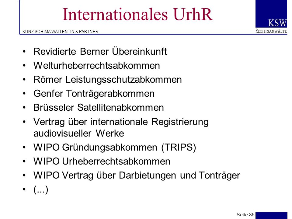 Internationales UrhR Revidierte Berner Übereinkunft