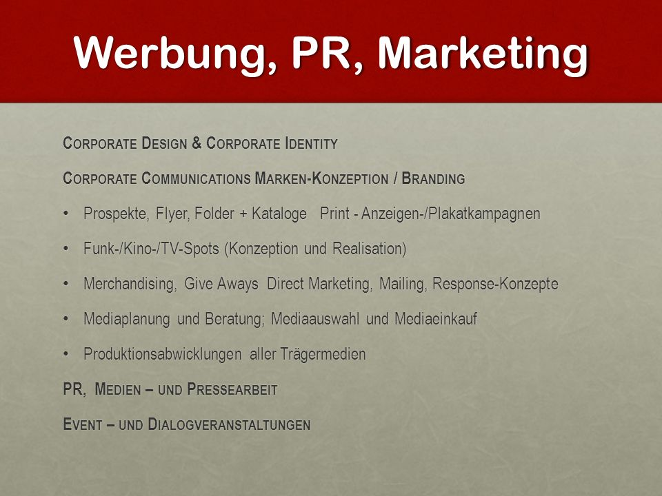 Werbung, PR, Marketing Corporate Design & Corporate Identity