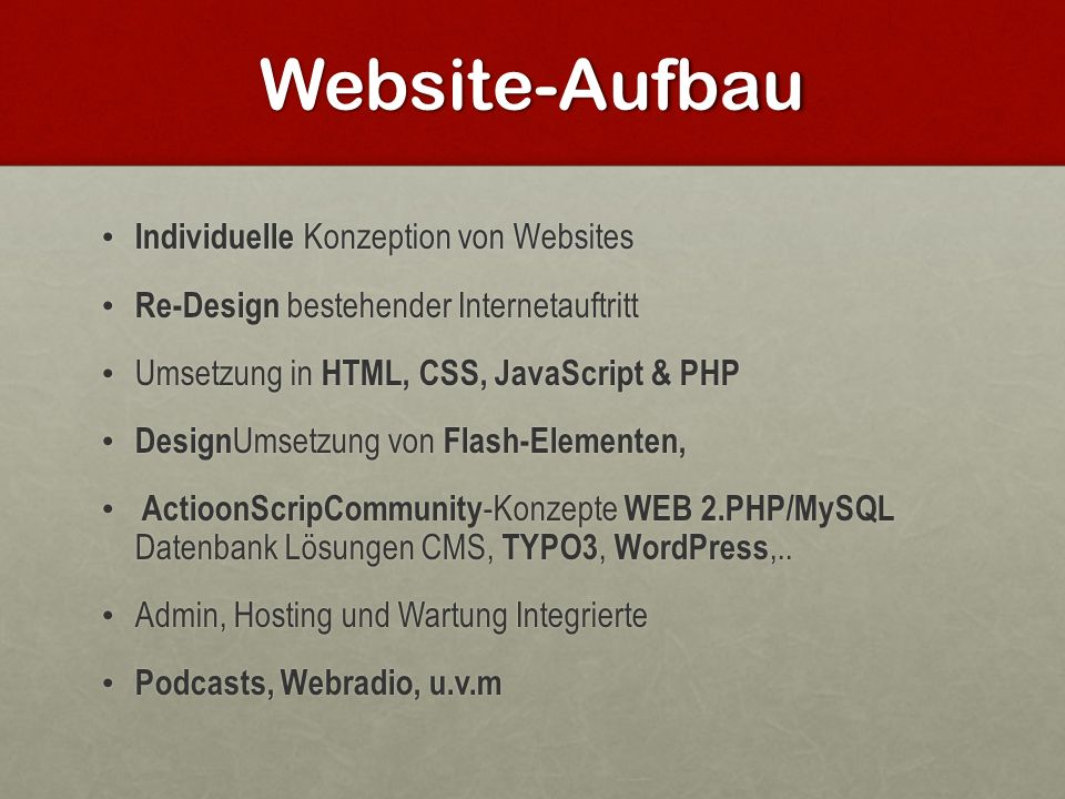 Website-Aufbau Individuelle Konzeption von Websites