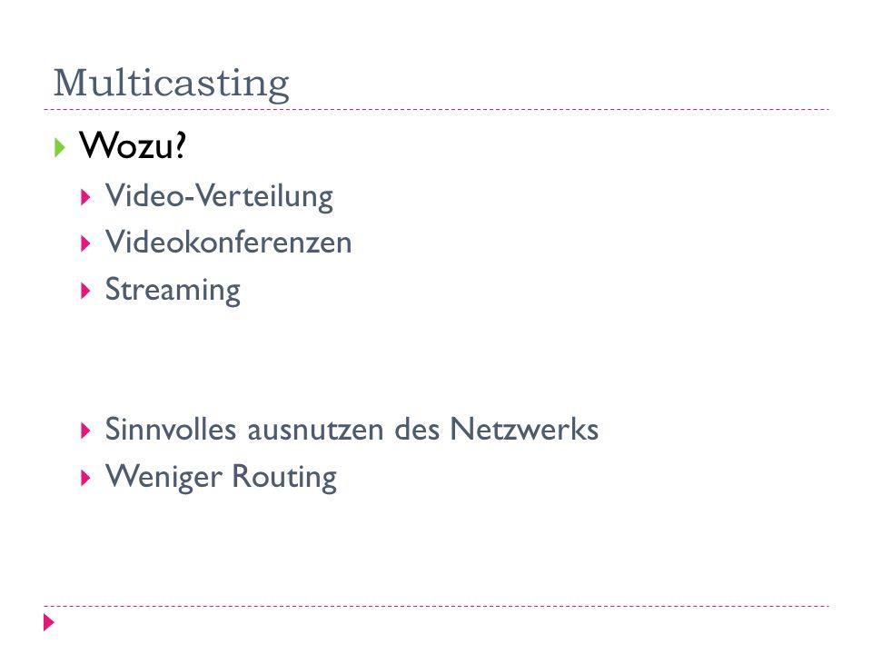 Multicasting Wozu Video-Verteilung Videokonferenzen Streaming
