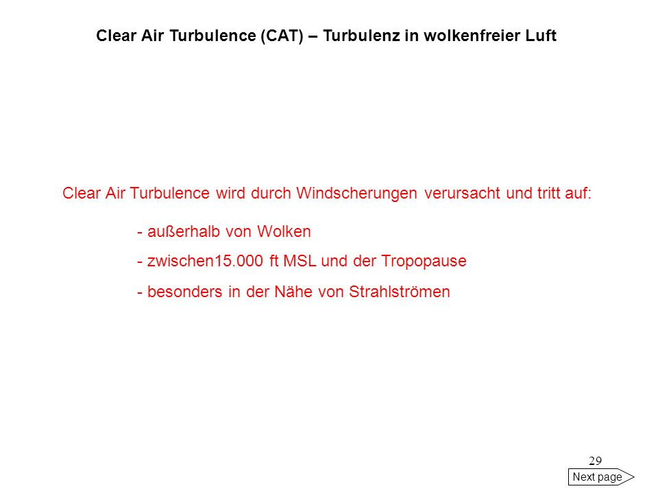 Clear Air Turbulence (CAT) – Turbulenz in wolkenfreier Luft