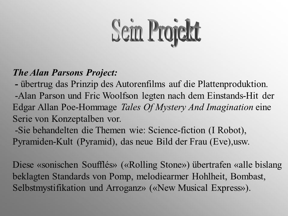 Sein Projekt The Alan Parsons Project:
