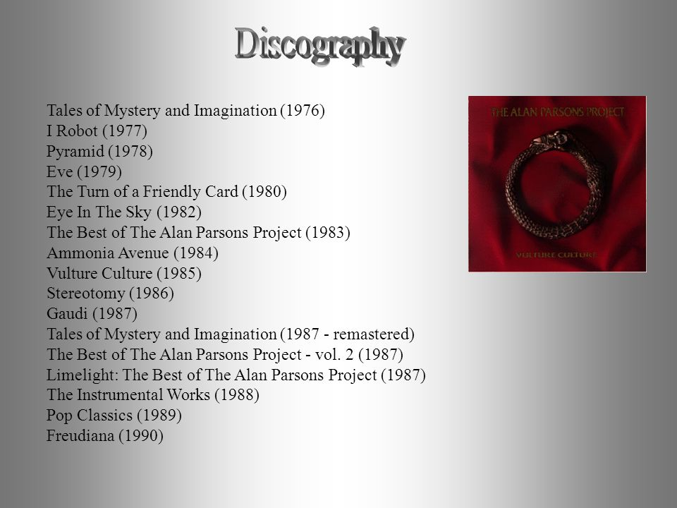 Discography Tales of Mystery and Imagination (1976) I Robot (1977)