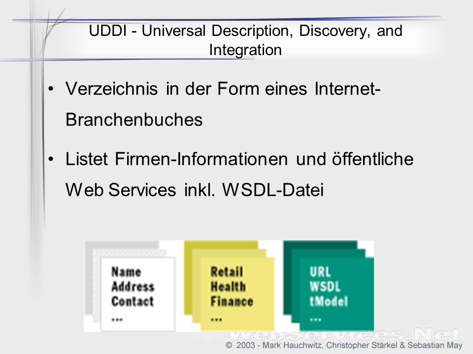 UDDI - Universal Description, Discovery, and Integration