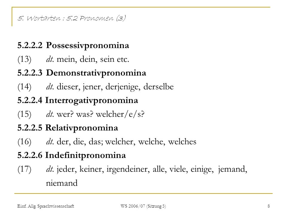 5. Wortarten : 5. 2 Pronomen (3) 5. 2. 2. 2. Possessivpronomina (13)