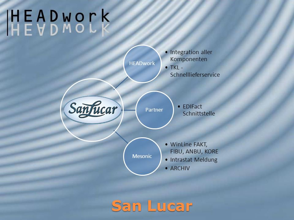 San Lucar HEADwork Integration aller Komponenten