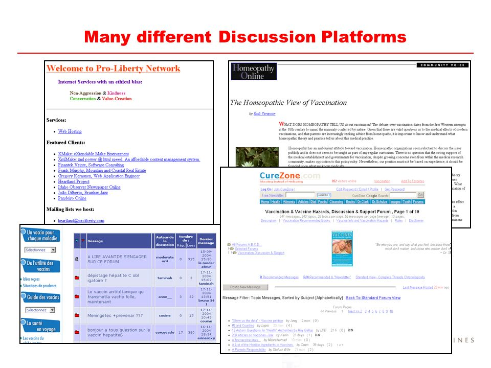 Many different Discussion Platforms
