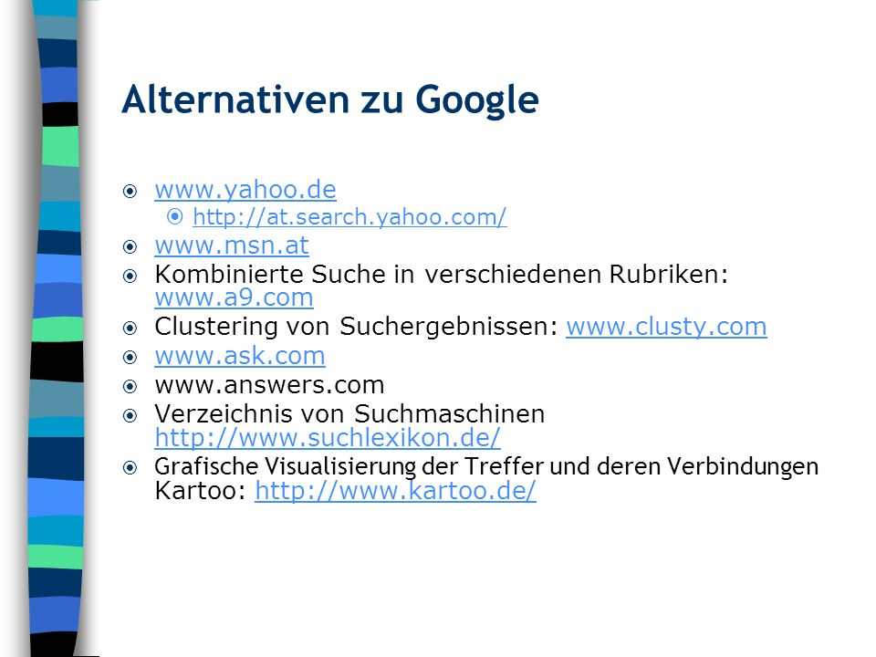 Alternativen zu Google