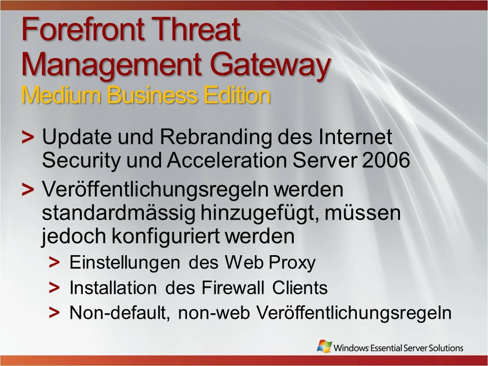 Forefront Threat Management Gateway Medium Business Edition