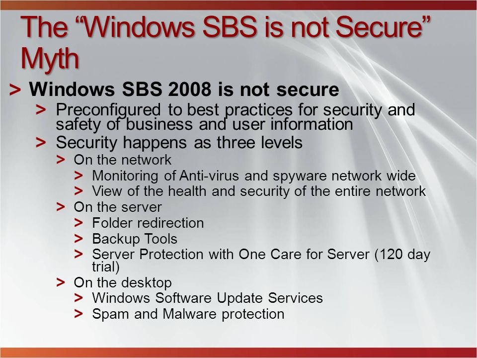 The Windows SBS is not Secure Myth