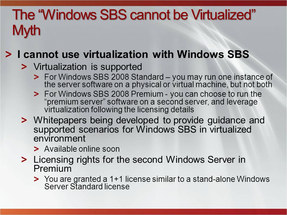 The Windows SBS cannot be Virtualized Myth