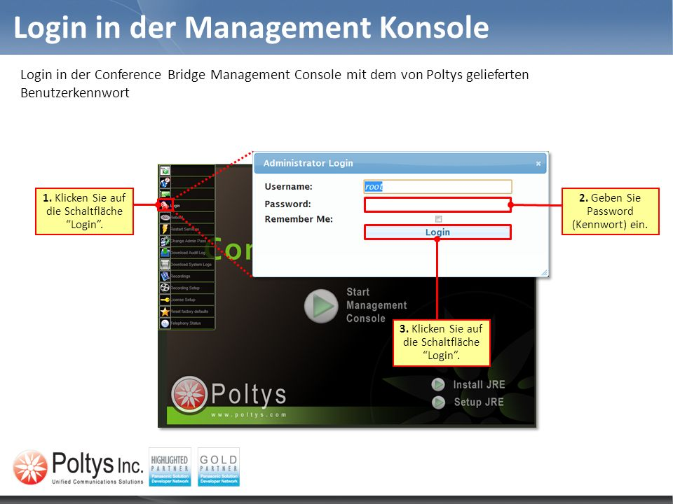 Login in der Management Konsole